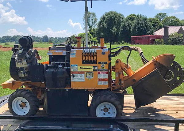Stump grinder machine on trailer