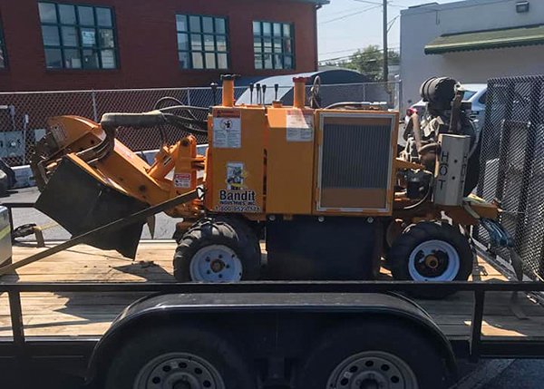 stump grinding equipment on trailer
